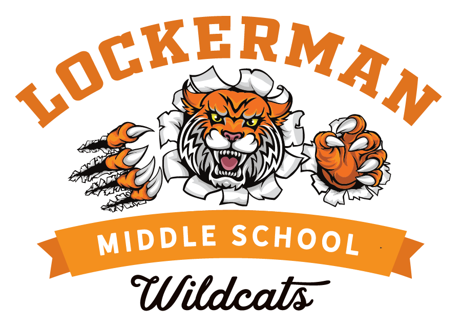 Lockerman Middle School logo of a tiger tearing through the banner